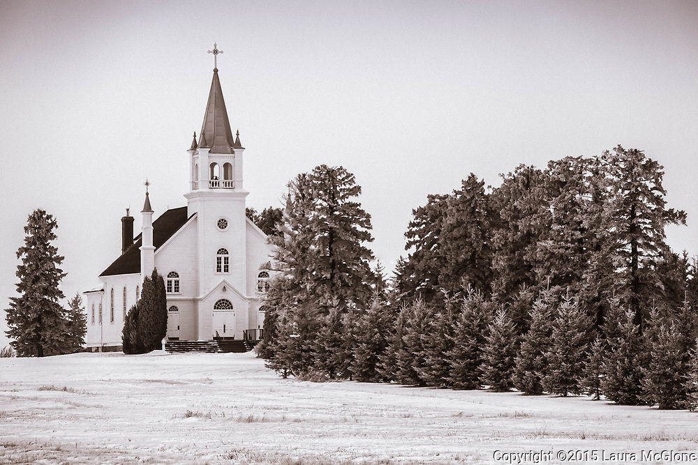 St. Michael's Church in snow, Alberta, Canada