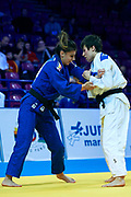Warsaw, Poland - 2017 April 20: (R) Evelyne Tschopp from Switzerland (white) competes with (L) Alexandra-Larisa Florian from Romania (blue) while in the women&rsquo;s 52kg repechage during European Judo Championships 2017 at Torwar Hall on April 20, 2017 in Warsaw, Poland.<br /> <br /> Mandatory credit:<br /> Photo by &copy; Adam Nurkiewicz / Mediasport<br /> <br /> Adam Nurkiewicz declares that he has no rights to the image of people at the photographs of his authorship.<br /> <br /> Picture also available in RAW (NEF) or TIFF format on special request.<br /> <br /> Any editorial, commercial or promotional use requires written permission from the author of image.