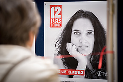 "18 September 2017, Geneva, Switzerland: The World Council of Churches formally opens the ""12 Faces of Hope"" exhibition at the Ecumenical Centre in Geneva. The exhibition faces 12 people from Israel and Palestine, sharing testimonies of hope, towards a future of justice and peace in the Holy Land."