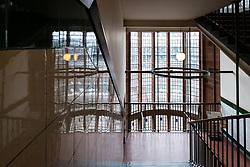 Stairway reflections inside Scotland Street School , designed by Charles Rennie Mackintosh, in Glasgow, Scotland, United Kingdom