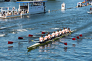 Henley on Thames, England, United Kingdom, Thursday, 04.07.19, St. Joseph's Preparatory School, U.S.A.<br /> and <br /> Flatow-Oberschule, Germany, GER, racing to the Finish, where St Joseph's Preparatory Scholl won the Heat, by 2 feet, Henley Royal Regatta,  Henley Reach, [©Karon PHILLIPS/Intersport Images]<br /> <br /> 14:11:42 1919 - 2019, Royal Henley Peace Regatta Centenary,