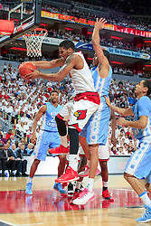 Louisville guard/forward Wayne Blackshear. <br /> <br /> The University of Louisville hosted University of North Carolina, Saturday, Jan. 31, 2015 at KFC YUM Center in the Louisville. Louisville won 78-68.  <br /> <br /> Photo by Jonathan Palmer