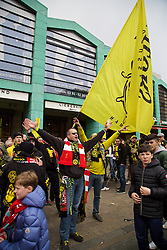 DORTMUND, GERMANY - Thursday, April 7, 2016: Borussia Dortmund supporters in the city centre ahead of the UEFA Europa League Quarter-Final 1st Leg match against Liverpool. (Pic by David Rawcliffe/Propaganda)