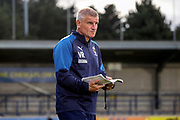 AFC Wimbledon coach Vaughan Ryan holding notebook during the EFL Trophy (Leasing.com) match between AFC Wimbledon and U23 Brighton and Hove Albion at the Cherry Red Records Stadium, Kingston, England on 3 September 2019.