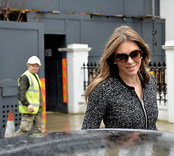 Elizabeth Hurley leaves her West London home in London, United Kingdom. Thursday, 6th February 2014. Picture by David Dyson / i-Images