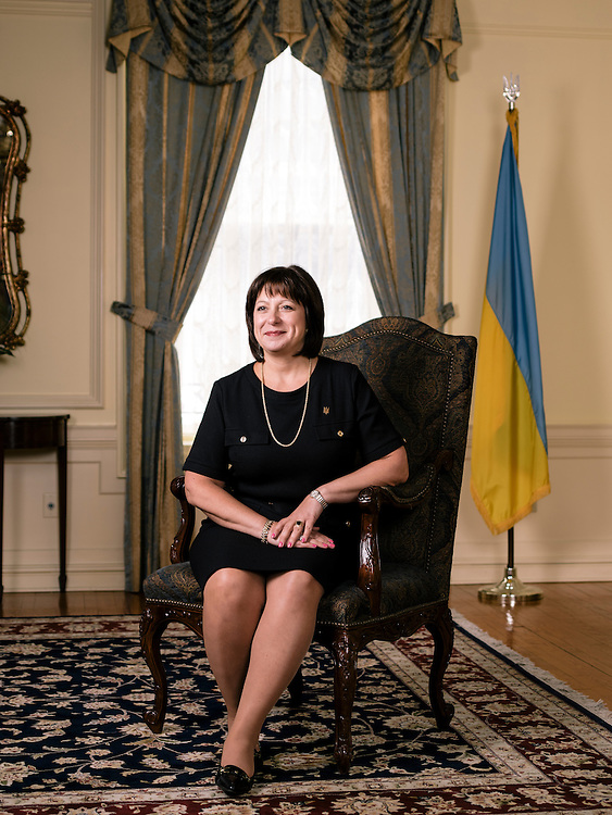 Natalija Jaresko, Ukriane's minister of finance, at the Ukrainian Embassy in Washington D.C. on April 14, 2015.