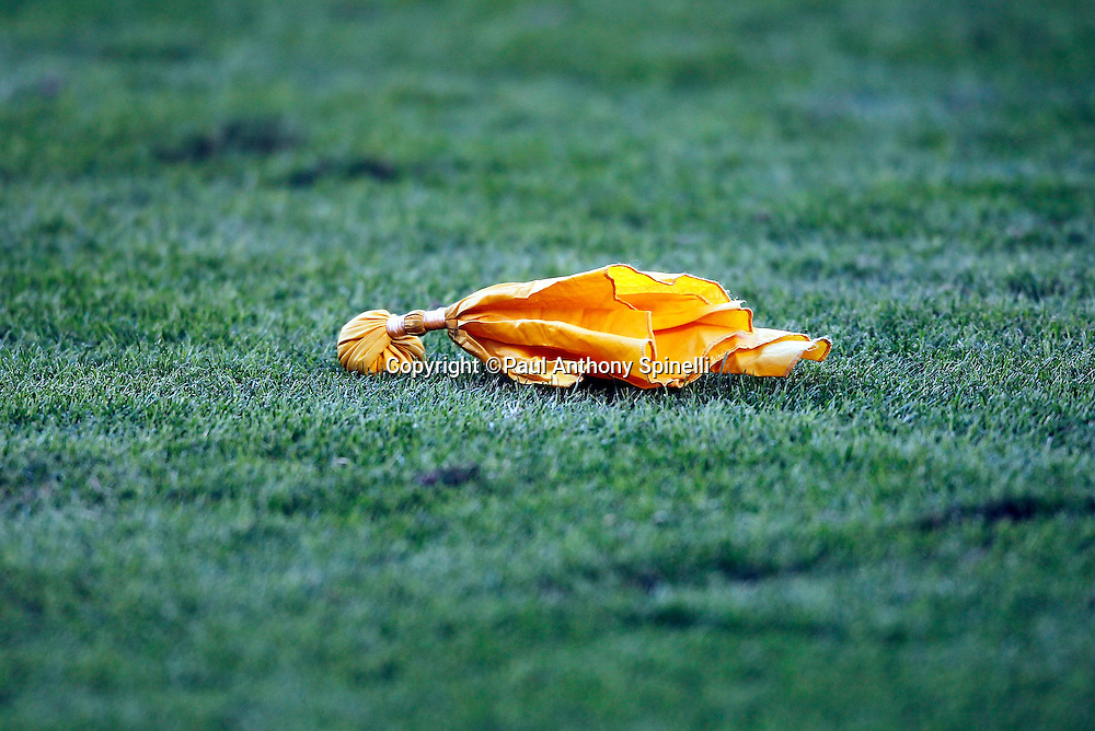 A yellow penalty flag lies on the grass at the Carolina Panthers NFL week 9 NFL football game against the New Orleans Saints on Sunday, November 7, 2010 in Charlotte, North Carolina. The Saints won the game 34-3. ©Paul Anthony Spinelli