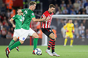 Brighton and Hove Albion midfielder Dale Stephens (6) battles with Southampton striker Danny Ings (9) during the Premier League match between Southampton and Brighton and Hove Albion at the St Mary's Stadium, Southampton, England on 17 September 2018.