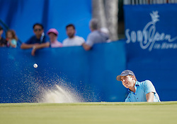 January 10, 2019 - Honolulu, HI, U.S. - HONOLULU, HI - JANUARY 10: Carlos Ortiz of Mexico hits out of a bunker next to the 18th green during the first round of the Sony Open on January 10, 2019, at the Waialae Counrty Club in Honolulu, HI. (Photo by Darryl Oumi/Icon Sportswire) (Credit Image: © Darryl Oumi/Icon SMI via ZUMA Press)