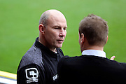 Walsall manager Jon Whitney discussing the game with AFC Wimbledon manager Neal Ardley during the EFL Sky Bet League 1 match between AFC Wimbledon and Walsall at the Cherry Red Records Stadium, Kingston, England on 25 February 2017. Photo by Matthew Redman.
