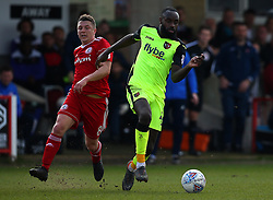 Hiram Boateng of Exeter City goes past Scott Brown of Accrington Stanley - Mandatory by-line: Robbie Stephenson/JMP - 14/04/2018 - FOOTBALL - Wham Stadium - Accrington, England - Accrington Stanley v Exeter City - Sky Bet League Two