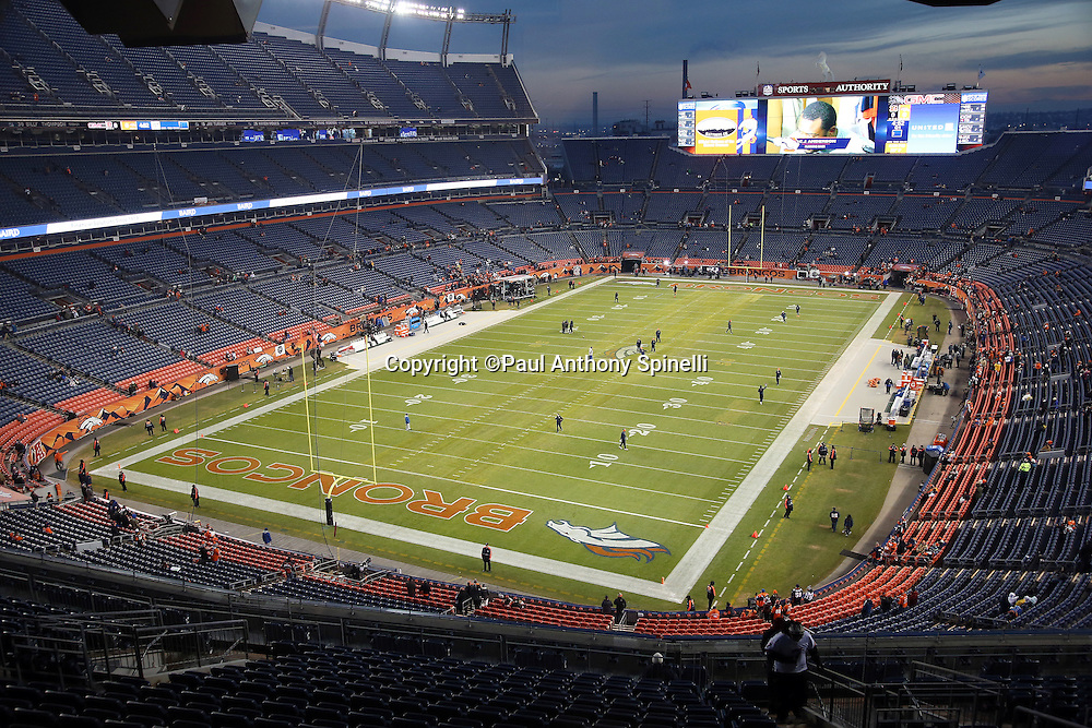 The field of Sports Authority Field at Mile High stadium is ready for pregame player warmups in this wide angle, general view photograph taken before the Cincinnati Bengals 2015 NFL week 16 regular season football game against the Denver Broncos on Monday, Dec. 28, 2015 in Denver. (©Paul Anthony Spinelli)