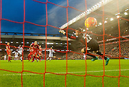 A shot by Yannick Bolasie of Crystal Palace beats Liverpool goalkeeper Simon Mignolet to make it 1-0 to Crystal Palace during the Barclays Premier League match at Anfield, Liverpool<br /> Picture by Russell Hart/Focus Images Ltd 07791 688 420<br /> 08/11/2015