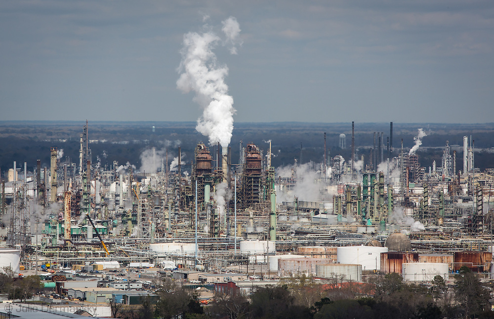 March 8, 2014, Baton Rouge, Exxon Mobile refinery as seen from the top of the Louisiana State Capitol Builidng. The area from Baton Rouge to New Orleans is know to many as 'cancer alley' due to the high number of oil and gas indsutry sites.