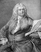 George Frederic Handel (1685-1759) German-born English Baroque composer.  Portrait engraving from Thomas Arne's edition of Handel's works. Music Musician