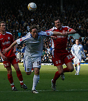 Photo: Steve Bond/Richard Lane Photography. Leeds United v Swindon Town. Coca Cola League One. 14/03/2009. Luciano Beccio (L) and Gordon Greer (R) chase the ball