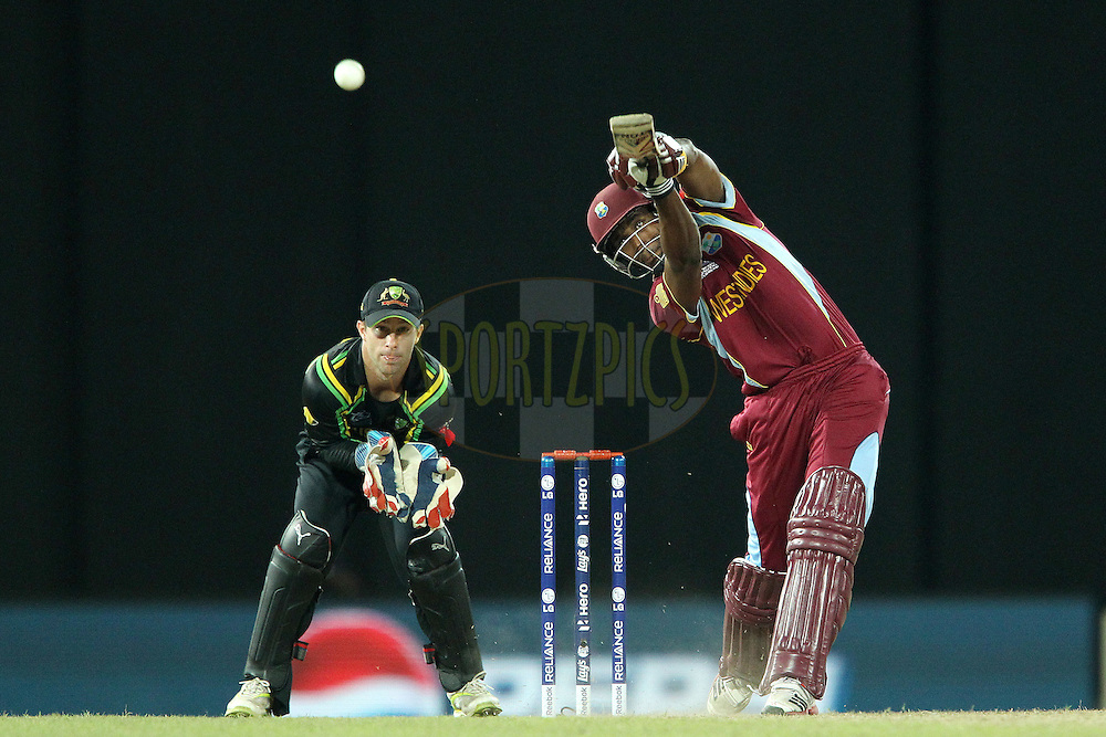 Dwayne Bravo of The West Indies during the ICC World Twenty20 semi final match between Australia and The West Indies held at the Premadasa Stadium in Colombo, Sri Lanka on the 5th October 2012..Photo by Ron Gaunt/SPORTZPICS