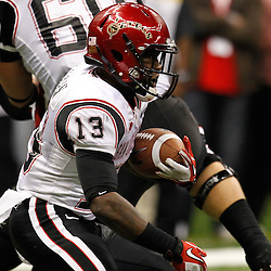 December 17, 2011; New Orleans, LA, USA;  San Diego State Aztecs running back Ronnie Hillman (13) runs against the Louisiana-Lafayette Ragin Cajuns during the second quarter of the New Orleans Bowl at the Mercedes-Benz Superdome.  Mandatory Credit: Derick E. Hingle-US PRESSWIRE