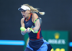 BEIJING, Oct. 3, 2018  Caroline Wozniacki of Denmark returns the ball during the women's singles second round match against Petra Martic of Croatia at China Open tennis tournament in Beijing, China, Oct. 3, 2018. Caroline Wozniacki won 2-0. (Credit Image: © Song Yanhua/Xinhua via ZUMA Wire)