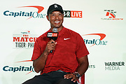 November 20, 2018; Las Vegas, NV, USA; Tiger Woods addresses the media during a press conference before The Match: Tiger vs Phil golf match at Shadow Creek Golf Course.