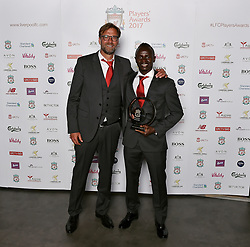 LIVERPOOL, ENGLAND - Tuesday, May 9, 2017: Liverpool's manager Jürgen Klopp with Sadio Mane who won the Player of the Season 2017 Award sponsored by Standard Chartered at the Liverpool FC Players' Awards 2017 at Anfield. (Pic by Andrew Powell/Liverpool FC/Pool/Propaganda)