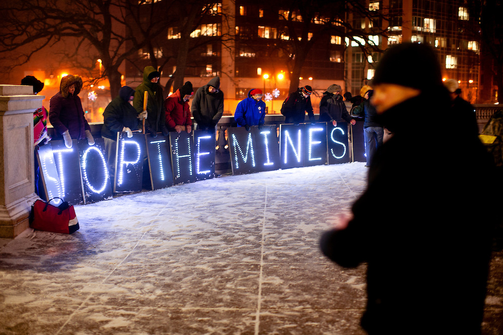 The light brigade protests the open pit mining law.