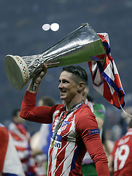 Fernando Torres of Club Atletico de Madrid with UEFA Europa League trophy during the UEFA Europa League final match between Olympique Marseille and Atletico de Madrid at Stade de Lyon, on May 16, 2018 in Lyon, France