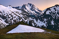 Afterglow over NE face of Mount Shuksan (9131 feet, 2783 meters) with view of the Price Glacier, North Cascades Washington