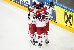 Jakub Jerabek of Czech Republic, Jan Kovar of Czech Republic and David Pastrnak of Czech Republic celebrate after scoring first goal in overtime during the 2017 IIHF Men's World Championship group B Ice hockey match between National Teams of Czech Republic and Norway, on May 11, 2017 in AccorHotels Arena in Paris, France. Photo by Vid Ponikvar / Sportida