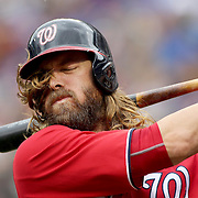NEW YORK, NEW YORK - July 10: Jayson Werth #28 of the Washington Nationals preparing to bat during the Washington Nationals Vs New York Mets regular season MLB game at Citi Field on July 10, 2016 in New York City. (Photo by Tim Clayton/Corbis via Getty Images)