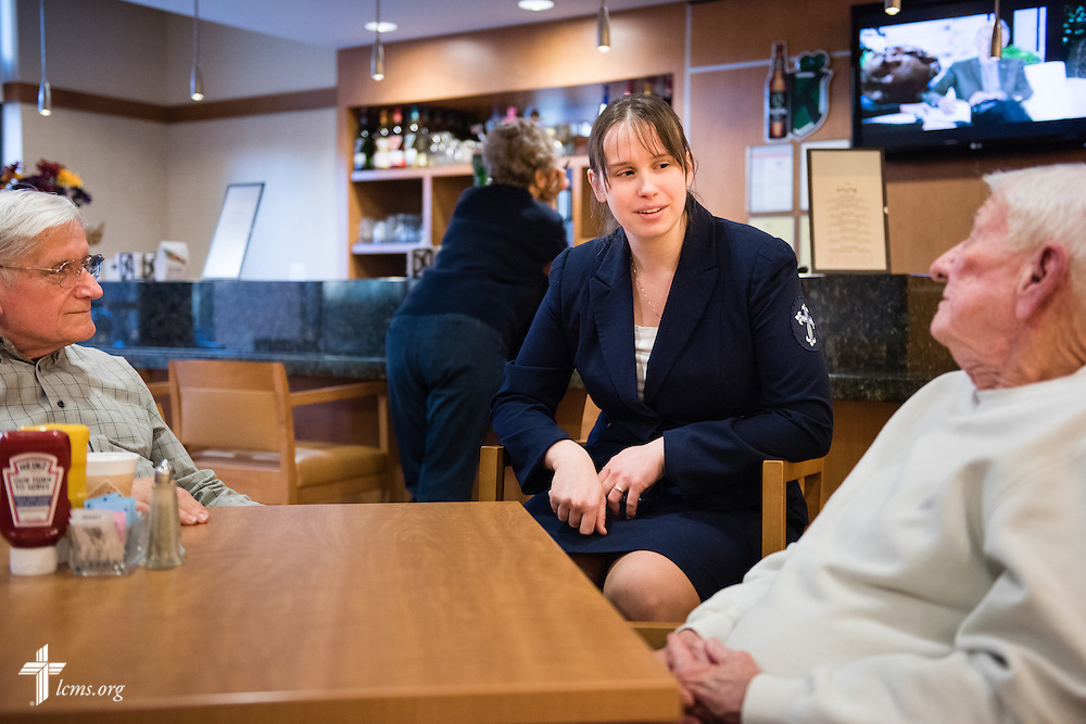 Deaconess intern Kate Hokana chats with Lutheran Senior Services, Laclede Groves, residents on Thursday, Jan. 15, 2015, in Webster Groves, Mo. LCMS Communications/Erik M. Lunsford