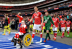 Oskar Pycroft  walks out with Bristol City's Aaron Wilbraham and the rest of the Bristol City team  - Photo mandatory by-line: Joe Meredith/JMP - Mobile: 07966 386802 - 22/03/2015 - SPORT - Football - London - Wembley Stadium - Bristol City v Walsall - Johnstone Paint Trophy Final