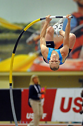 February 17, 2018 - Albuquerque, NM, U.S. - Sam Kendricks takes takes his last jump in the men's pole vault championships at the USATF Indoor Championships. Saturday, Feb. 17,  2018. (Credit Image: © Jim Thompson/Albuquerque Journal via ZUMA Wire)