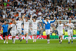 James Rodriguez, Mateo Kovacic, Gareth Bale, Luka Modric, Raphael Varane, Jese and Cristiano Ronaldo of Real Madrid celebrate after they win 1-0 to progress for the Champions League Final - Mandatory byline: Rogan Thomson/JMP - 04/05/2016 - FOOTBALL - Santiago Bernabeu Stadium - Madrid, Spain - Real Madrid v Manchester City - UEFA Champions League Semi Finals: Second Leg.