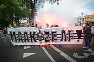 19-05-2016 VOETBAL:NAC BREDA - WILLEM II:BREDA<br /> Supporters van Willem II mogen niet mee naar Breda maar zwaaien met vlaggen en vuurwerk hun spelers uit bij het stadion<br /> <br /> Foto:  Geert van Erven