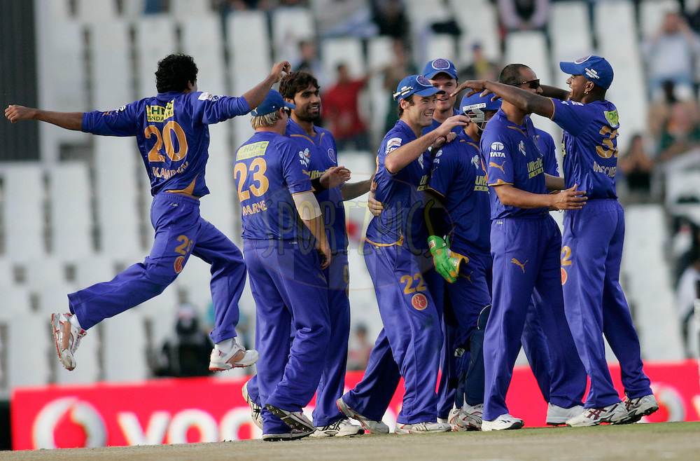 CENTURION, SOUTH AFRICA - 30 April 2009.  during the  IPL Season 2 match between the Rajasthan Royals and the Chennai Superkings held at  in Centurion, South Africa..Rajasthan Royals players celebrates