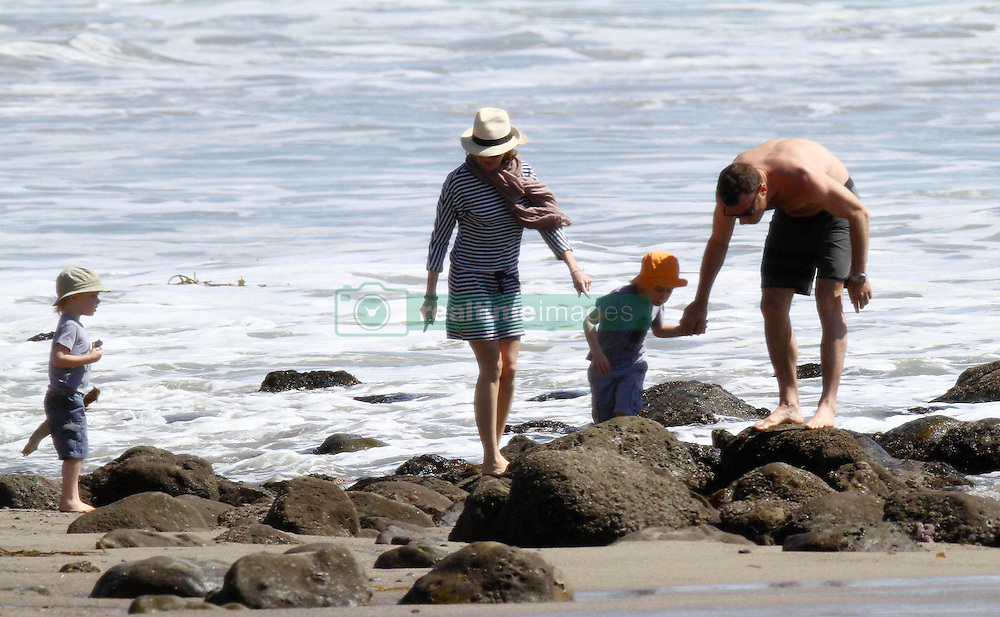 Naomi Watts and Liev Schreiber with their sons, Samuel Kai Schreiber and Alexander Pete Schreiber seen at the beach in Los Angeles, USA.