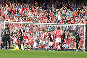 Arsenal defender Nacho Monreal (18) scores a goal during the Premier League match between Arsenal and West Ham United at the Emirates Stadium, London, England on 22 April 2018. Picture by Bennett Dean.
