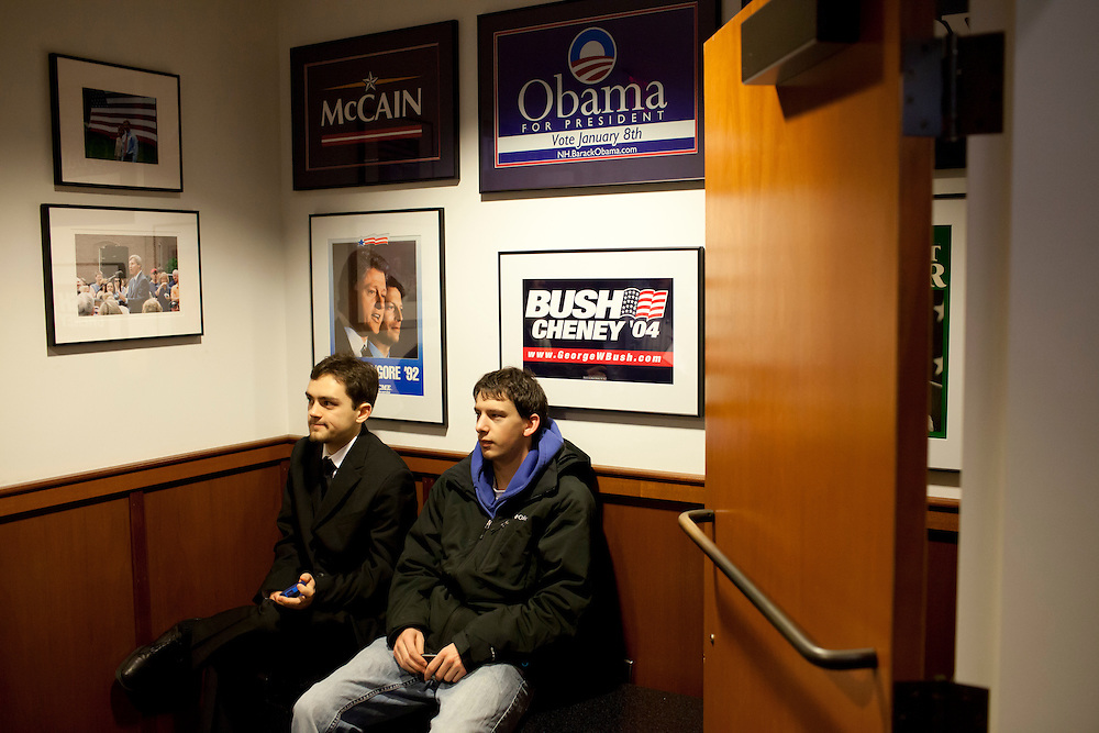 "Griffin Roberge, left, and Christien Dubois, both freshmen at St. Anselm College, wait to hear Republican presidential candidate Rick Santorum participate in ""The Electorate and the Economy"" forum at St. Anselm College on Saturday, January 7, 2012 in Manchester, NH. Brendan Hoffman for the New York Times"