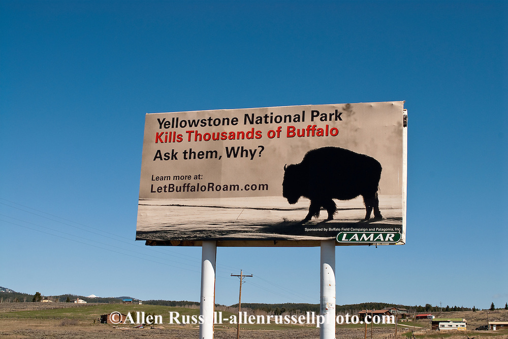 Buffalo Field Campaign sign protesting Yellowstone National Park bison policies