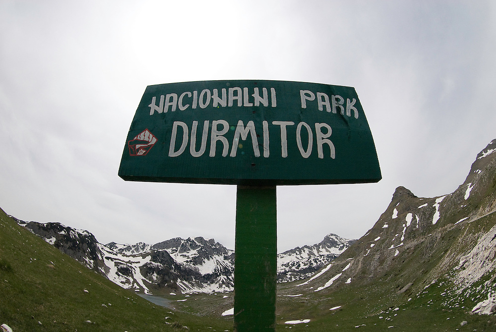 """Durmitor national park"" sign in Durmitor national park, Montenegro"