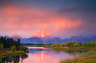 Thunderstorm, Sunrise, Grand Tetons, Oxbow Bend, Jackson Hole, Wyoming<br />