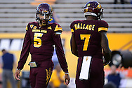 TEMPE, AZ - SEPTEMBER 24:  Quarterback Manny Wilkins #5 of the Arizona State Sun Devils talks with running back Kalen Ballage #7 prior to the game against the California Golden Bears at Sun Devil Stadium on September 24, 2016 in Tempe, Arizona. The Sun Devils won 51-41.  (Photo by Jennifer Stewart/Getty Images)