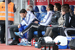 Football: Germany, 1. Bundesliga, Braunschweig, 15.02.2014<br />Bert van Marwijk coach and Roel Coumans  (Hamburger sv)<br /> copyright: pixathlon