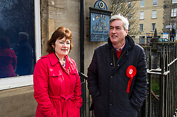 Pictured: <br /> The former Scottish Labour leader Iain Gray joined colleague Sarah Boyack activists and supporters at a street stall at Stockbridge Market. <br /> Ger Harley | EEm 10 April 2016