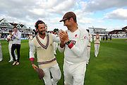 Peter Trego and Marcus Trescothick of Somerset on the parade around the County Ground after the win over Nottinghamshire in the Specsavers County Champ Div 1 match between Somerset County Cricket Club and Nottinghamshire County Cricket Club at the Cooper Associates County Ground, Taunton, United Kingdom on 22 September 2016. Photo by Graham Hunt.