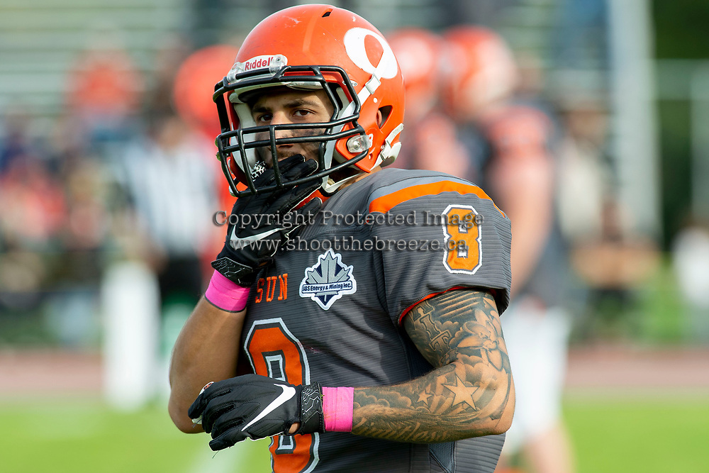 KELOWNA, BC - OCTOBER 6: Kian Ishani #8 of Okanagan Sun stands on the field against the VI Raiders at the Apple Bowl on October 6, 2019 in Kelowna, Canada. (Photo by Marissa Baecker/Shoot the Breeze)