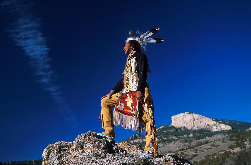Model released, Lakota Elder Ron Hawks, Bighorn Mountains, Wyoming, USA