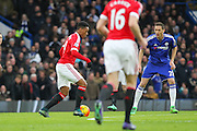 Anthony Martial of Manchester United on the ball during the Barclays Premier League match between Chelsea and Manchester United at Stamford Bridge, London, England on 7 February 2016. Photo by Phil Duncan.