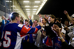 URBAS Jan of Slovenia with his fans after the IIHF Ice-hockey World Championships Division I Group B match between National teams of Slovenia and Great Britain, on April 20, 2010, in Tivoli hall, Ljubljana, Slovenia.  (Photo by Vid Ponikvar / Sportida)